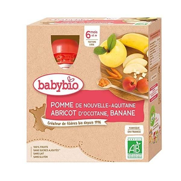BABYBIO伴宝乐宝宝营养果泥苹果香蕉甜杏口味 4x90G