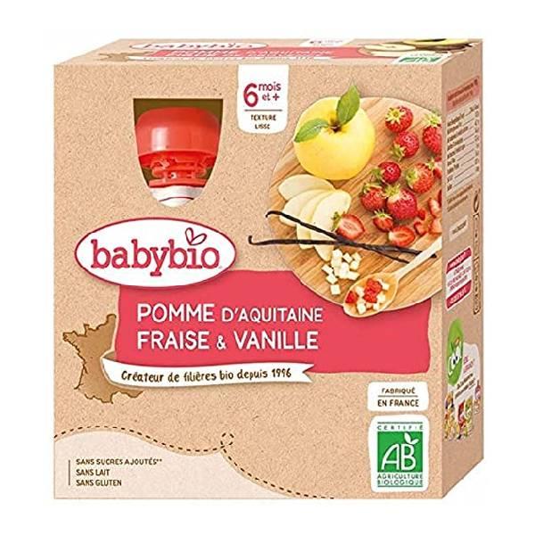 BABYBIO伴宝乐宝宝营养果泥苹果草莓香草口味 4x90G