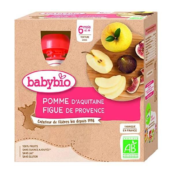 BABYBIO伴宝乐宝宝营养果泥苹果无花果口味 4x90G