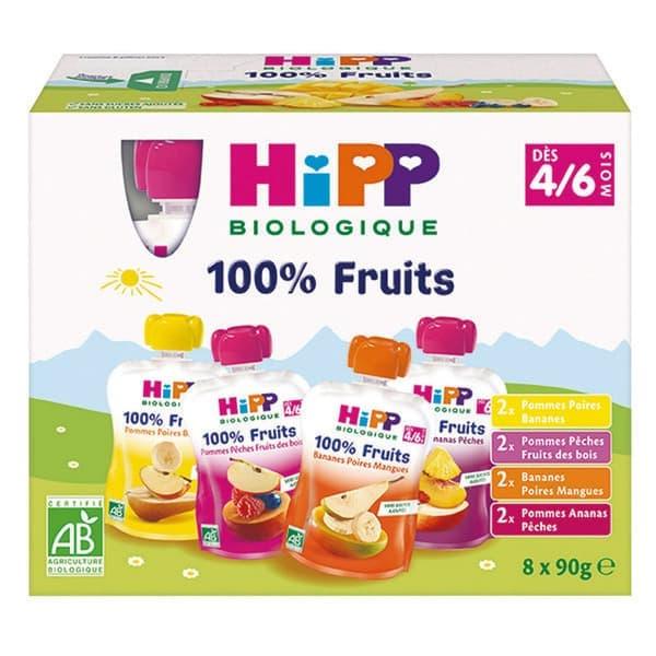 喜宝营养果泥黄桃香蕉芒果菠萝4种口味 90Gx4x8袋